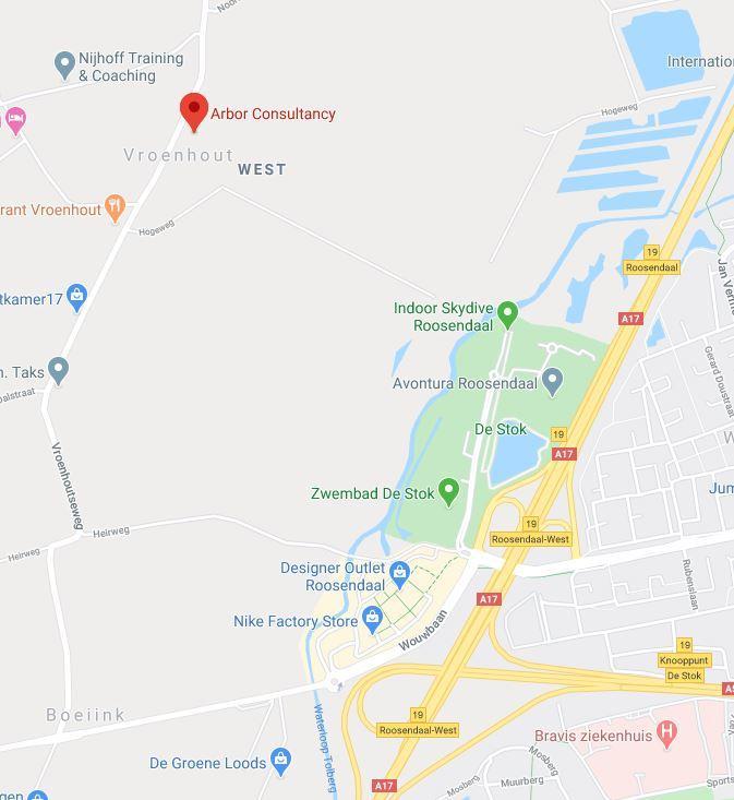 Google maps afbeelding van locatie 2 Arbor Consultancy